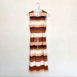 NWT H&M Pleated Striped Midi Dress